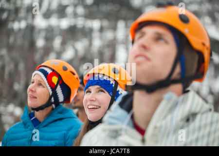 Future participants watch the ice climbing clinics at the Kids' Wall during the Ouray Ice Festival at the Ice Park - Stock Photo