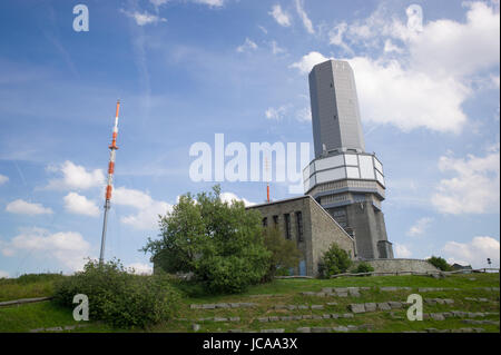 Transmitters and observation tower on Großer Feldberg, Taunus, Germany - Stock Photo