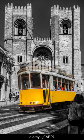 Lisbon Portugal. 05 June 2017.View of Lisbon town tram car in front of Se Cathedral in Alfama. Lisbon, Portugal. - Stock Photo