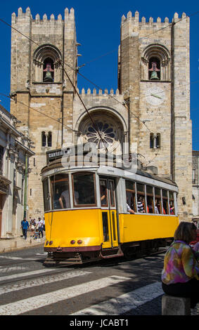 Lisbon Portugal. 05 June 2017.View of Lisbon town tram car in front of Sé in Alfama. Lisbon, Portugal. photography - Stock Photo