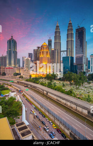 Kuala Lumpur. Cityscape image of Kuala Lumpur, Malaysia during twilight blue hour. - Stock Photo