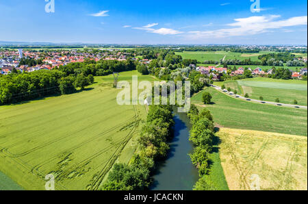 Aerial panorama of the Ill river between Fegersheim and Eschau near Strasbourg - Grand Est, France - Stock Photo