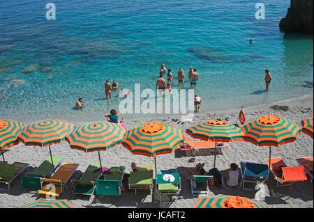 beach, Monterosso al Mare, Cinque Terre, Liguria, Italy - Stock Photo