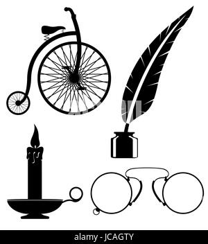 objects old retro vintage icon stock vector illustration isolated on white background - Stock Photo