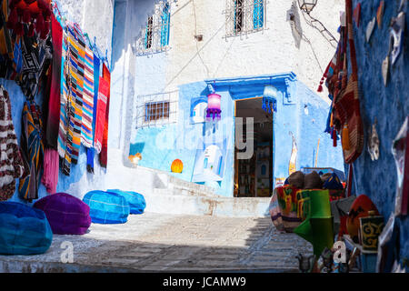 Shopping street in Chefchaouen, Morocco - Stock Photo