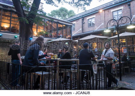 Outdoors bar in The Rocks, the oldest area of the city, Sydney, NSW, Australia - Stock Photo