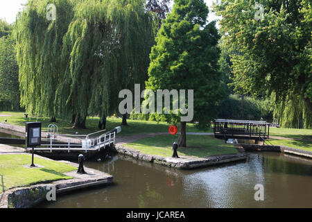 A broad lock and a narrow lock in Stourport Basin leading to the river Severn in the town of Stourport on Severn - Stock Photo