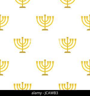 Jewish Menorah with candles pattern flat - Stock Photo