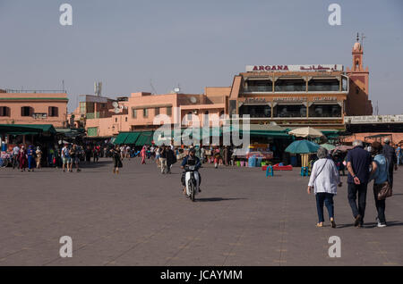 Marrakesh, Morocco - May 3, 2017:  People in Jemaa el-Fna, main square of Marrakech - Stock Photo