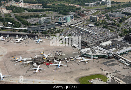 aerial view of Manchester Airport, UK - Stock Photo