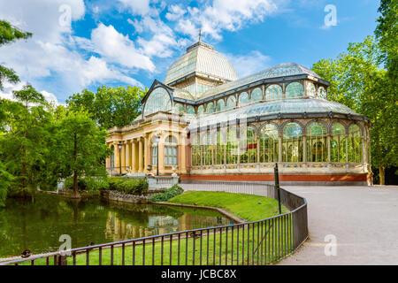 Crystal Palace (Palacio de cristal) in Retiro Park, Madrid, Spain - Stock Photo