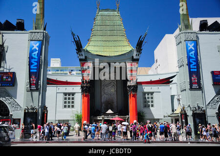 May 21, 2017.  Hollywood, California.  Hundreds of tourists outside of the landmark iconic Chinese theater exterior - Stock Photo