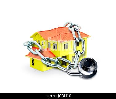 House in Chain and Combination Lock - Stock Photo