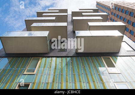 balconies of a luxurious apartment building in amsterdam - Stock Photo