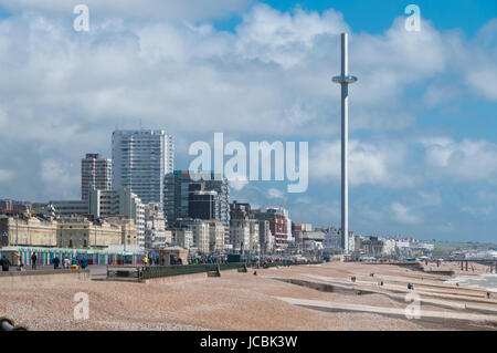 Brighton beach and British Airways i360, United Kingdom - Stock Photo