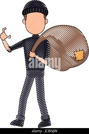 thief stealing money cartoon hacker stealing a bag concept of fraud - Stock Photo
