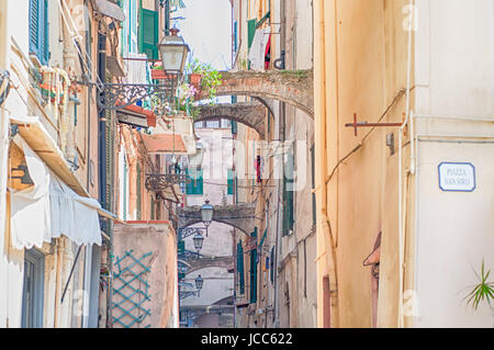 beautiful historical street in Sanremo, Italy - Stock Photo