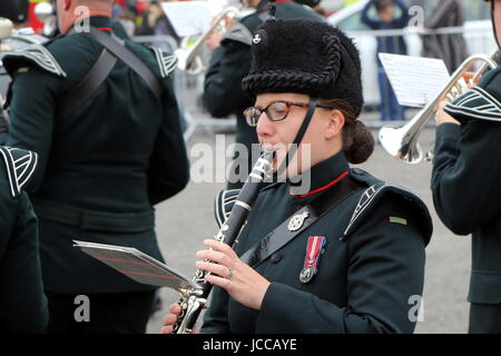 Beaulieu, Hampshire, UK - May 29 2017: Female Clarinet player with the Winchester Rifles military band at the 2017 - Stock Photo