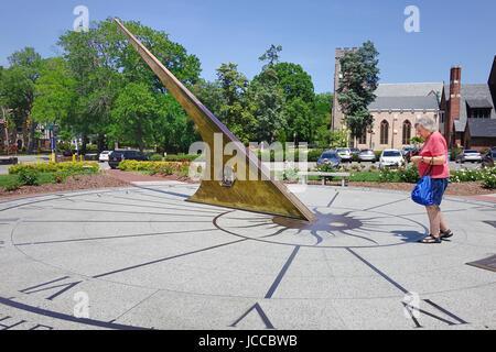 Woman near the Morehead Planetarium Sundial, Unversity of North Carolina, Chapel Hill, North Carolina - Stock Photo