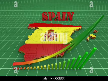 3D map illustration of SPAIN with flag - Stock Photo
