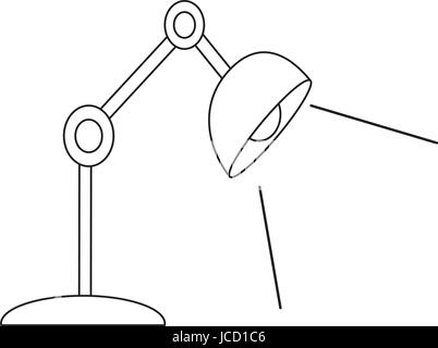 desk lamp drawing. sketch draw lamp desk bulb light office object stock photo drawing