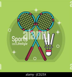 colorful poster of sport lifestyle with badminton icons - Stock Photo