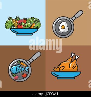 set nutrition vegetables and fruits with proteins - Stock Photo