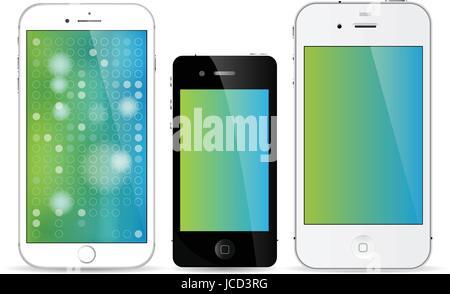 iPhone line of smartphones art - Stock Photo
