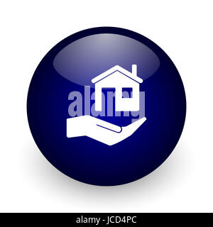 House care blue glossy ball web icon on white background. Round 3d render button. - Stock Photo