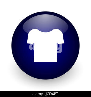 Shirt blue glossy ball web icon on white background. Round 3d render button. - Stock Photo
