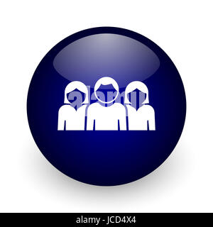 People blue glossy ball web icon on white background. Round 3d render button. - Stock Photo