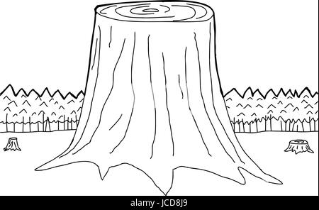 Vector Illustration Hand Drawn Outline Of Three Tree Trunks In Forest