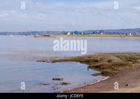 Hide Tide from the Bird Hide at Dawlish Warren. A View of the Exe Estuary. Devon, UK. April, 2016. - Stock Photo