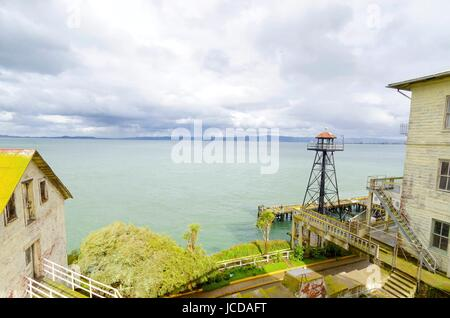 The old Guard Tower on Alcatraz Penitentiary island, now a museum, in San Francisco, California, USA. A view of - Stock Photo