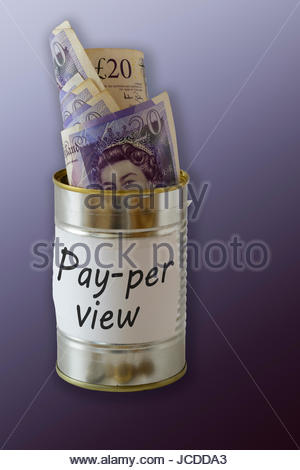 Pay-per-view, cash kept in a tin can, England, UK - Stock Photo