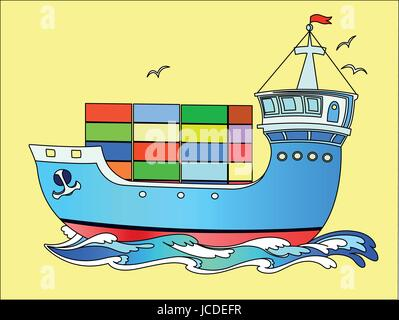 Marine cargo ship sailing on the waves of the sea - Stock Photo