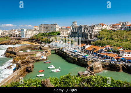 Church and arbor of Biarritz in France - Stock Photo