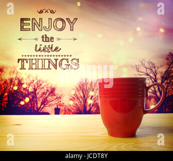 Enjoy the Little Things text, on twilight background, wake up and smell the coffee - Stock Photo