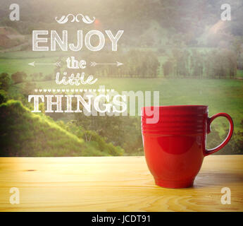Enjoy the Little Things text on rural background, wake up and smell the coffee - Stock Photo
