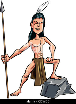 Cartoon American indian brave with a spear. Isolated - Stock Photo