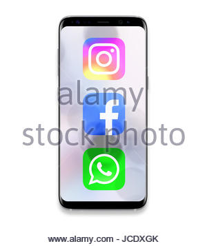 Instagram WhatsApp Facebook logo icon app - Stock Photo