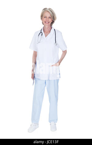 Portrait Of Happy Mature Female Doctor Isolated Over White Background - Stock Photo