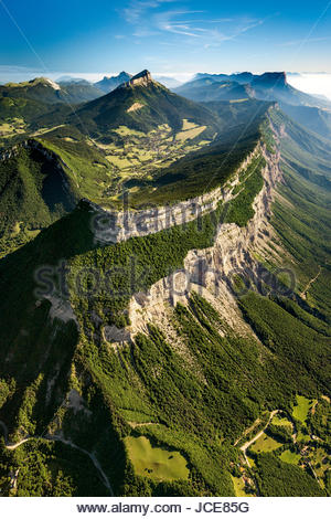 Aerial view of Saint Eynard mountain and fortifications, Chamechaude and the entire Chartreuse mountain range and - Stock Photo