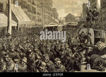 United States. New York city. Police officers dispersing the strike of employees of Streetcar. March 4, 1886. Engraving. - Stock Photo