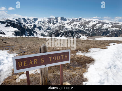 View of the Beartooth mountains from the Beartooth all American scenic highway between Cooke City and Red Lodge - Stock Photo