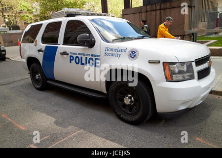 federal protective police homeland security chevy suv vehicle New York City USA - Stock Photo