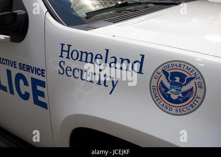 homeland security logo on vehicle New York City USA - Stock Photo