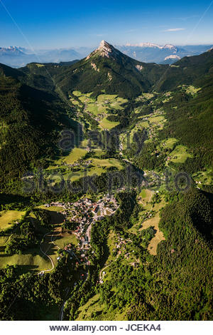 Aerial view of Saint-Pierre and Saint-Hugues-de-Chartreuse in the Chartreuse mountain range and natural park - Stock Photo