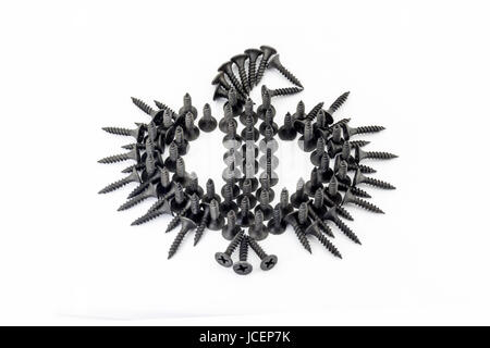 eagle laid out with black Oxidized self-tapping screw isolated on white background - Stock Photo