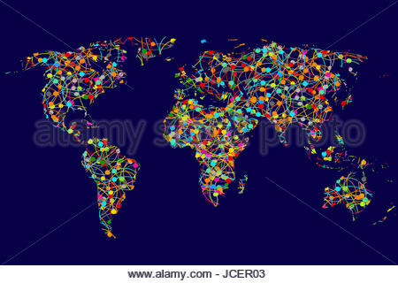 Vector world map with colorful continents atlas eps stock vector world map made of abstract colorful dots network stock photo gumiabroncs Image collections